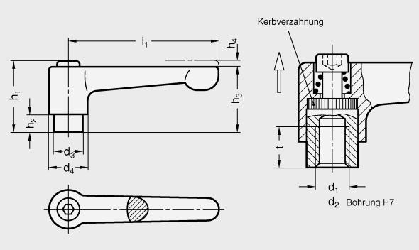 silber M8x20 mit Schraube Verstellbarer Klemmhebel gerade